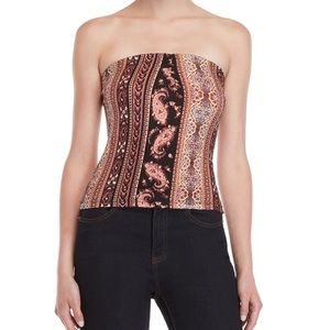 Polly and Esther Printed Cinched tube top sz med